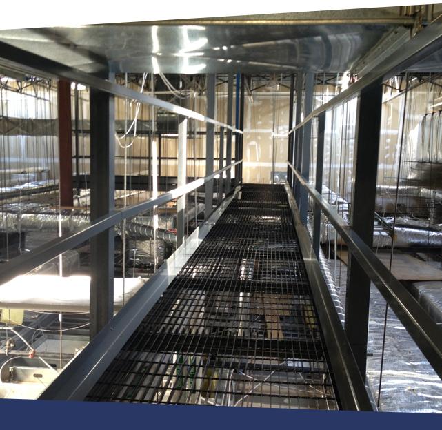 Walk On Ceiling Grid System Providing HVAC Access